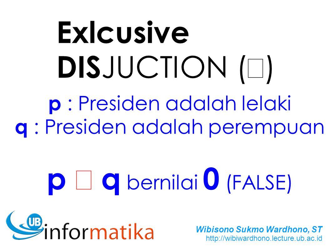 Exlcusive DISJUCTION (Å) p Å q bernilai 0 (FALSE)