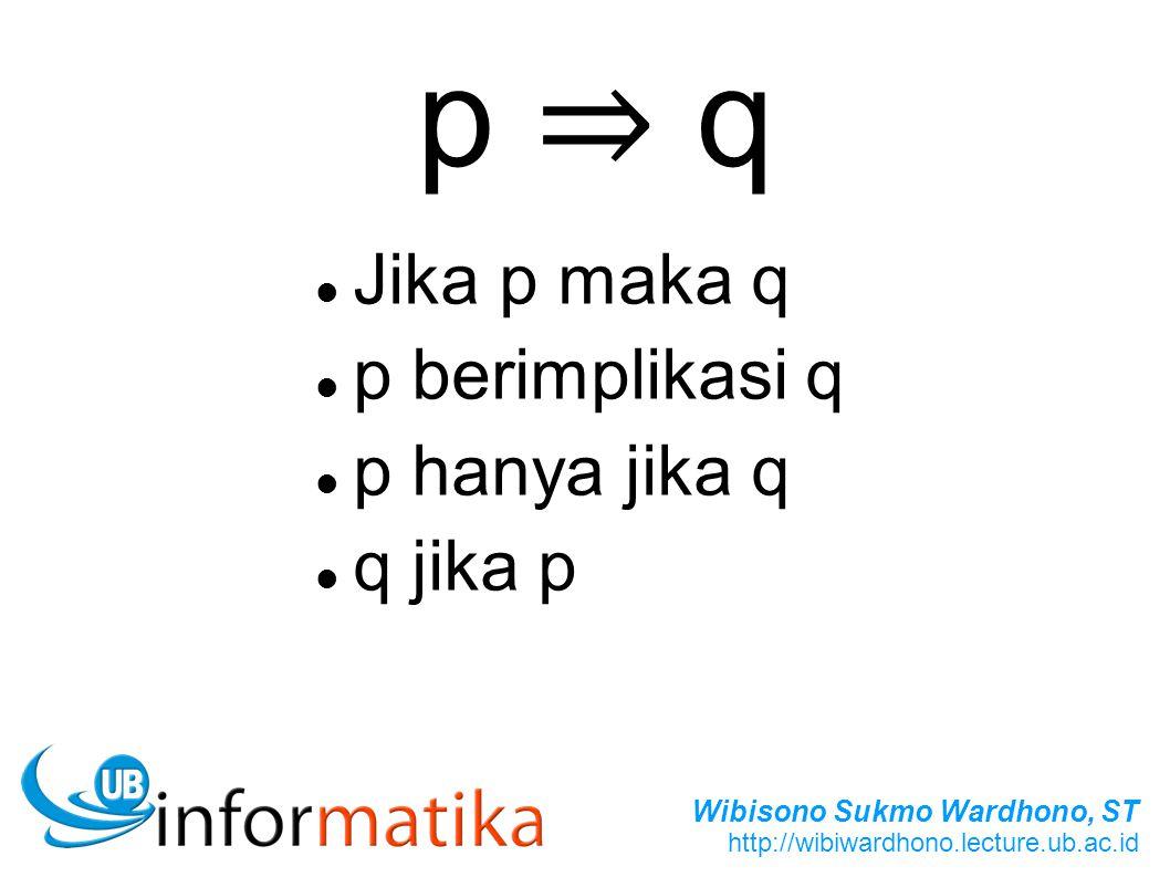 p ⇒ q Jika p maka q p berimplikasi q p hanya jika q q jika p