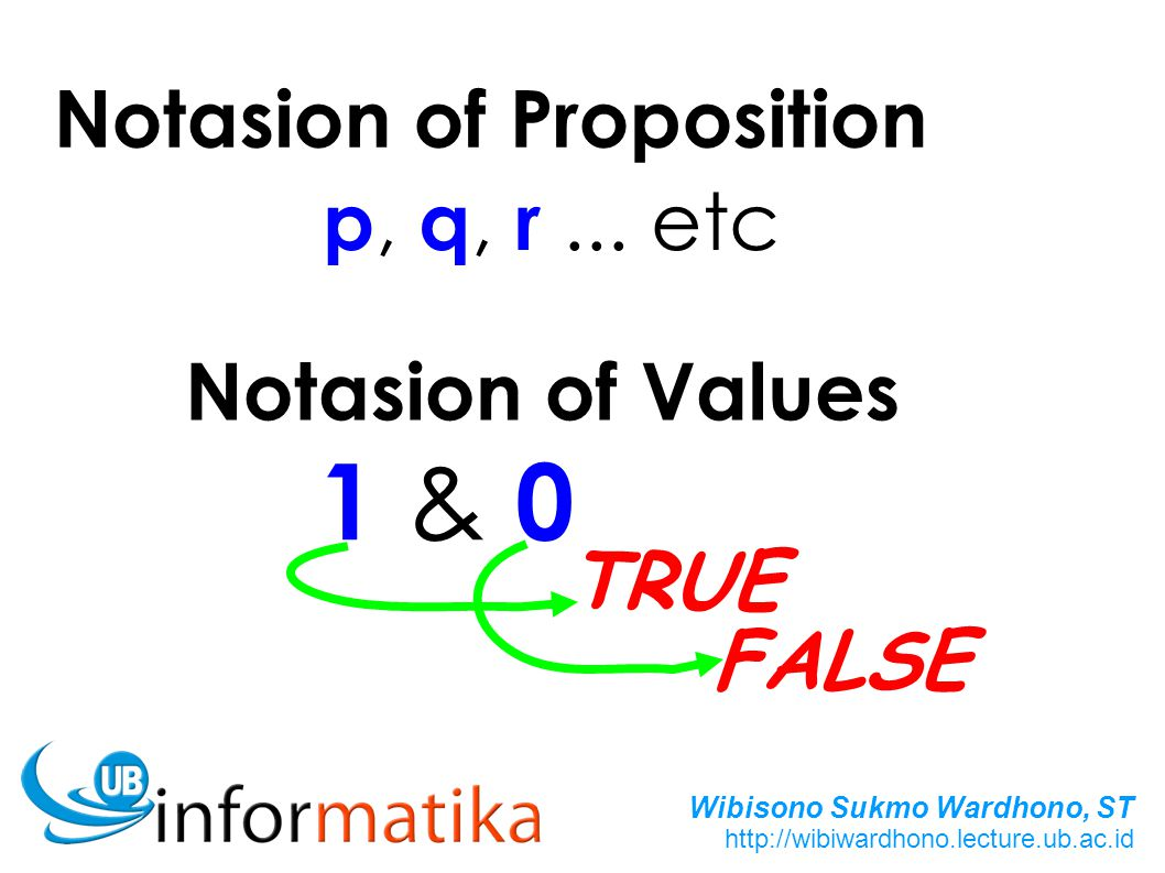 1 & 0 Notasion of Proposition p, q, r ... etc Notasion of Values TRUE