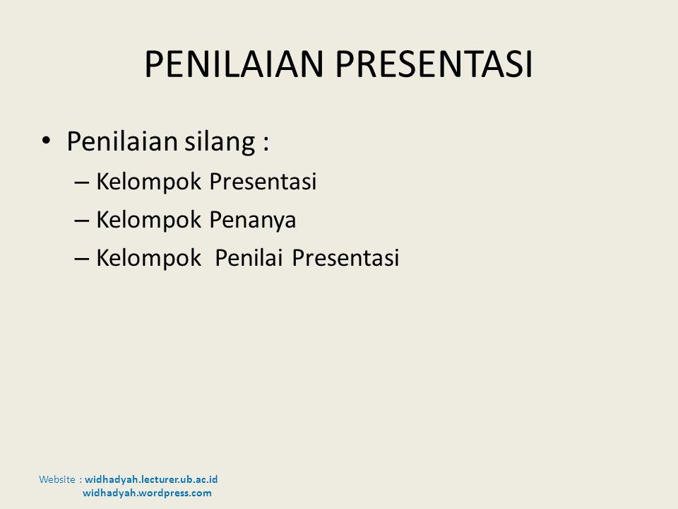 PENILAIAN PRESENTASI Penilaian silang : Kelompok Presentasi
