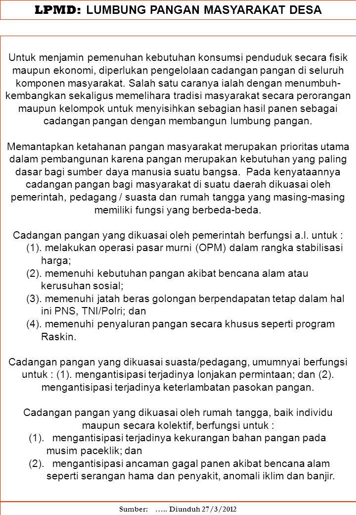 LPMD: LUMBUNG PANGAN MASYARAKAT DESA