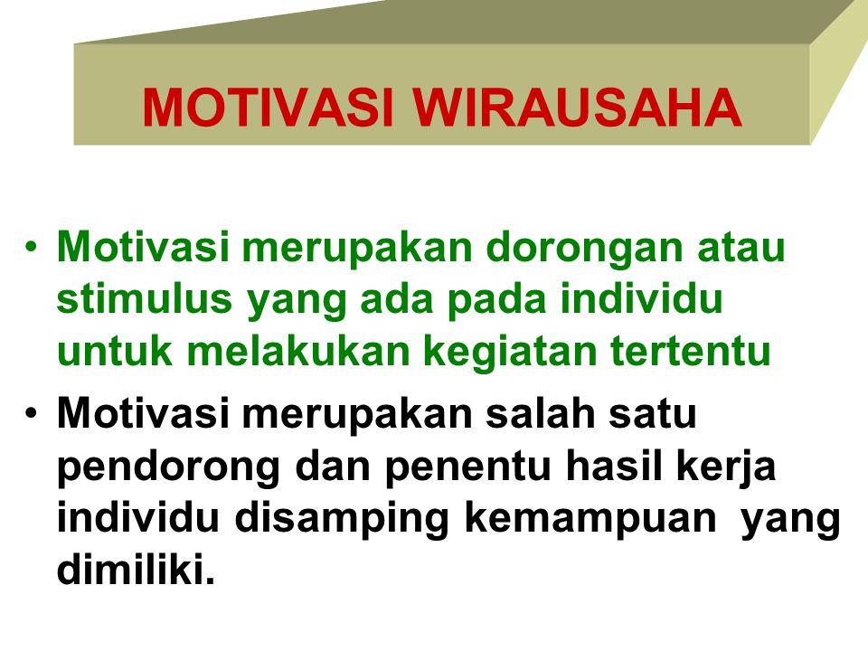 MOTIVASI WIRAUSAHA Motivasi merupakan dorongan atau stimulus yang ada pada individu untuk melakukan kegiatan tertentu.