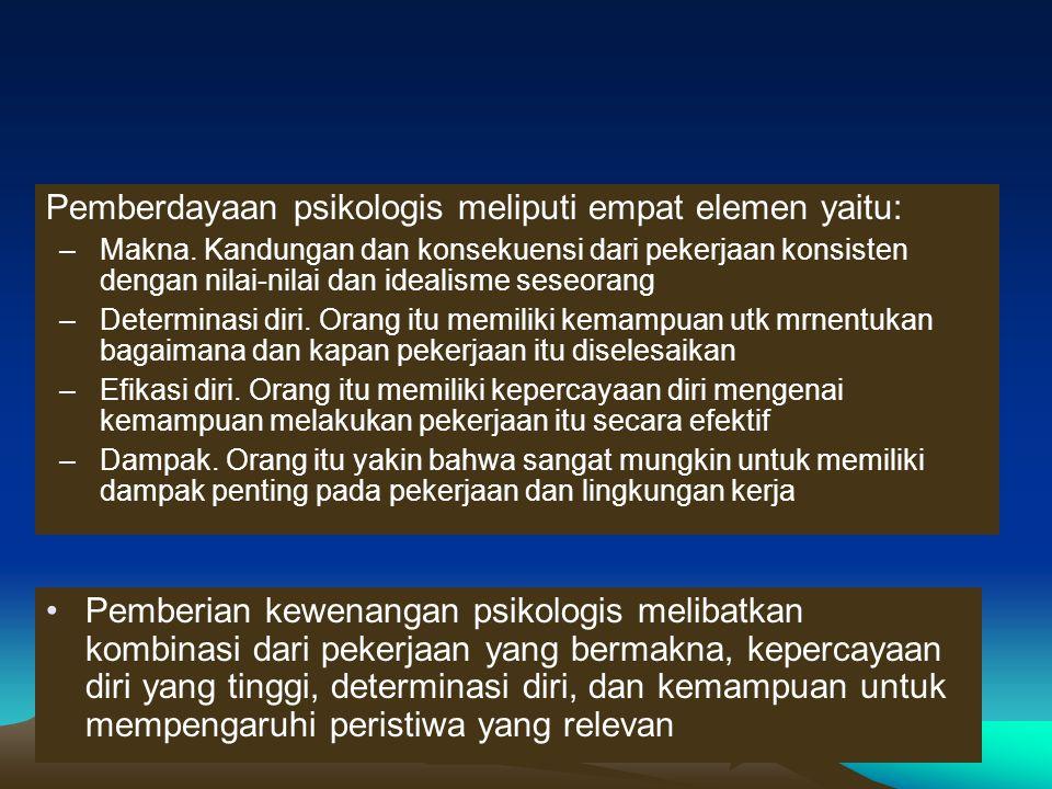 Pemberdayaan psikologis meliputi empat elemen yaitu: