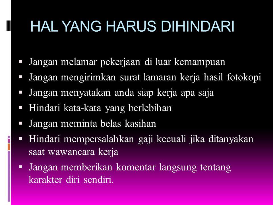 HAL YANG HARUS DIHINDARI