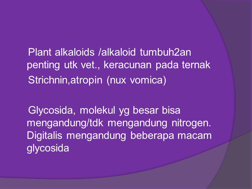 Plant alkaloids /alkaloid tumbuh2an penting utk vet