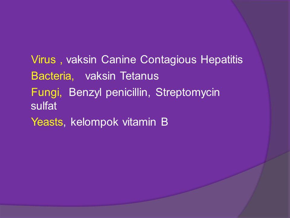 Virus , vaksin Canine Contagious Hepatitis Bacteria, vaksin Tetanus Fungi, Benzyl penicillin, Streptomycin sulfat Yeasts, kelompok vitamin B