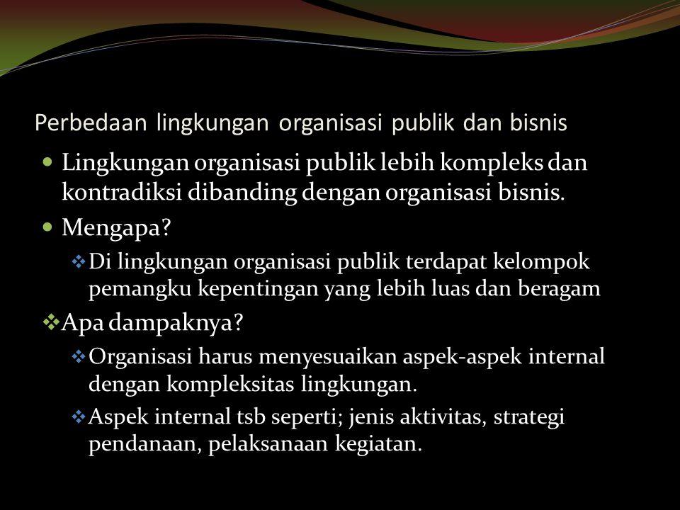 Perbedaan lingkungan organisasi publik dan bisnis