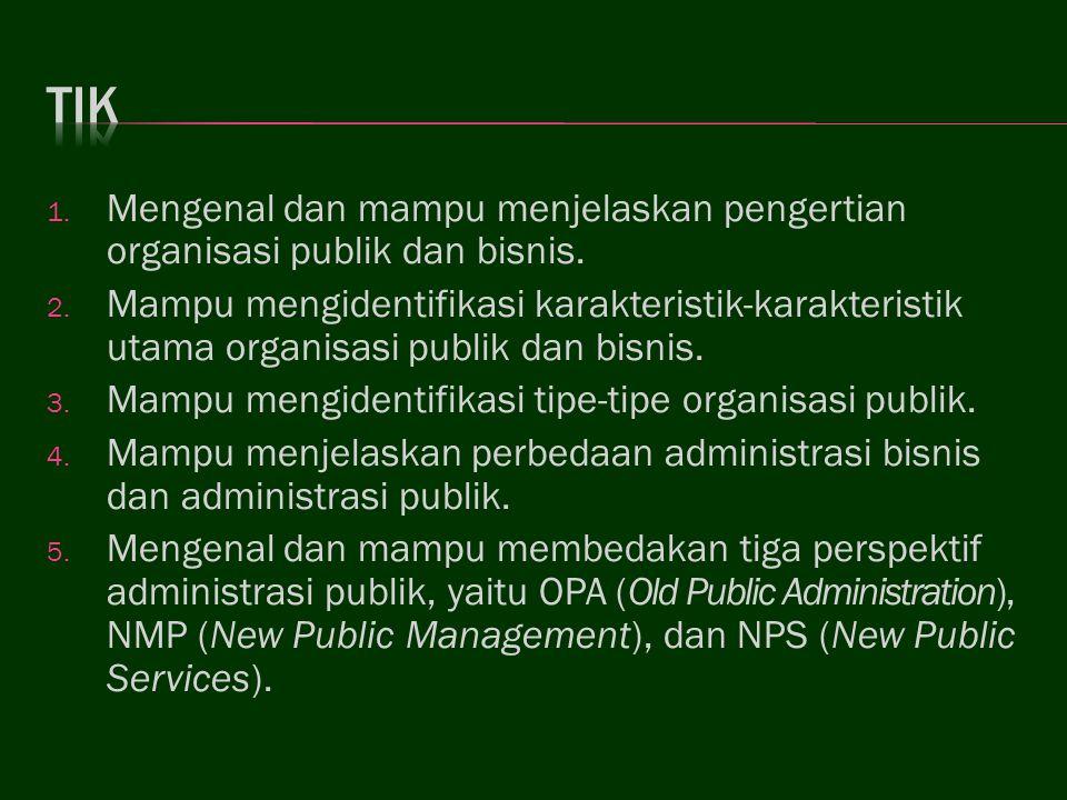 TIK Mengenal dan mampu menjelaskan pengertian organisasi publik dan bisnis.