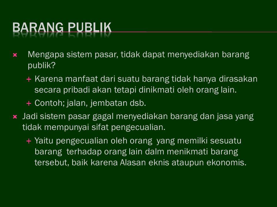 Barang publik Mengapa sistem pasar, tidak dapat menyediakan barang publik