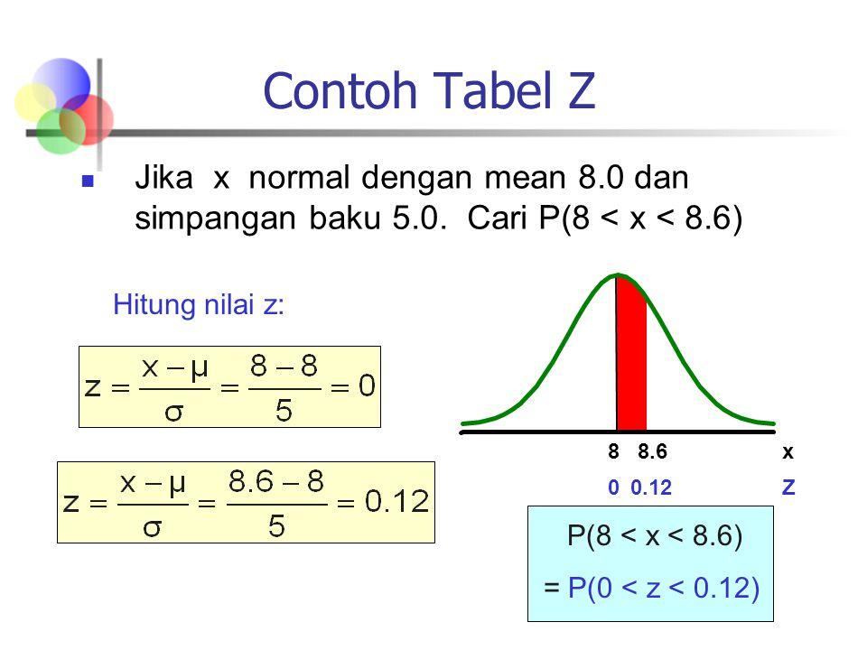 Contoh Tabel Z Jika x normal dengan mean 8.0 dan simpangan baku 5.0. Cari P(8 < x < 8.6) Hitung nilai z: