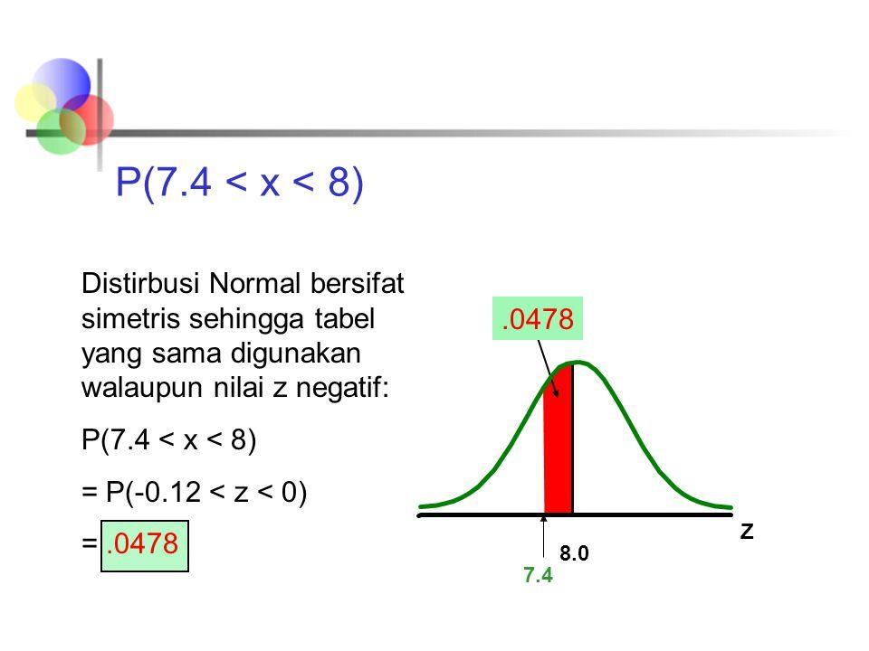 P(7.4 < x < 8) Distirbusi Normal bersifat simetris sehingga tabel yang sama digunakan walaupun nilai z negatif: