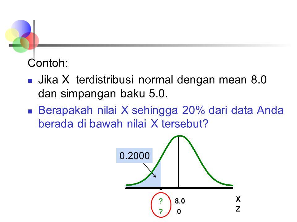Jika X terdistribusi normal dengan mean 8.0 dan simpangan baku 5.0.