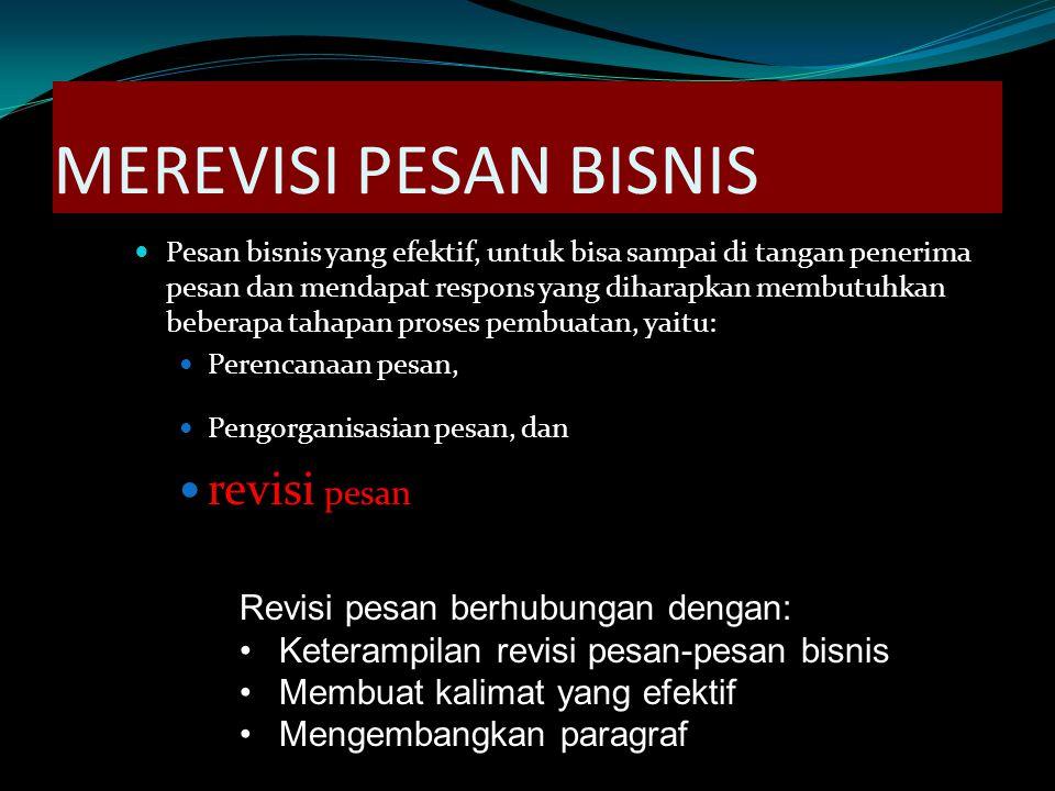 MEREVISI PESAN BISNIS revisi pesan Revisi pesan berhubungan dengan: