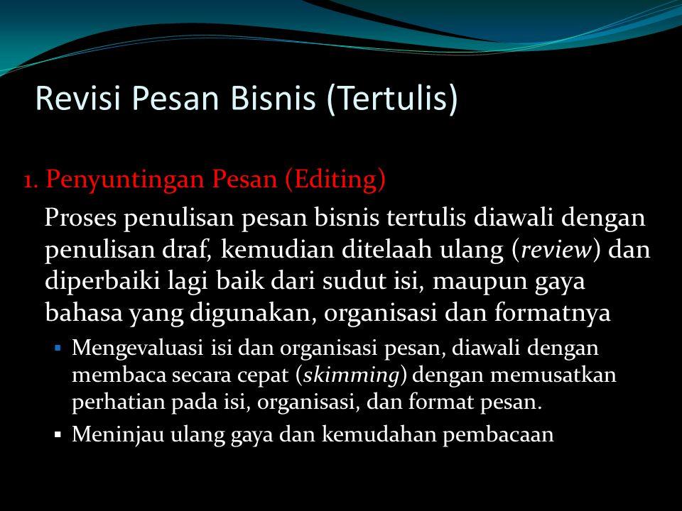 Revisi Pesan Bisnis (Tertulis)