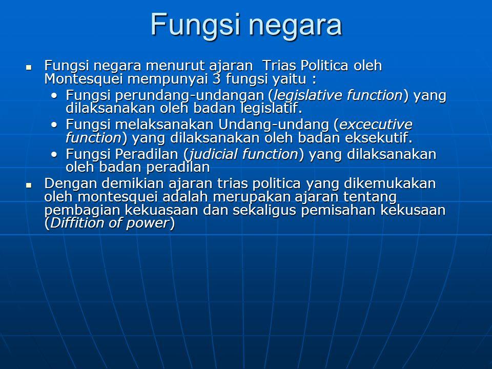 Fungsi negara Fungsi negara menurut ajaran Trias Politica oleh Montesquei mempunyai 3 fungsi yaitu :
