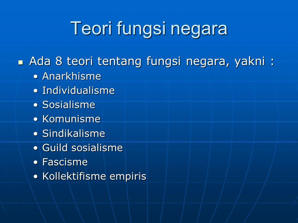 Teori fungsi negara Ada 8 teori tentang fungsi negara, yakni :