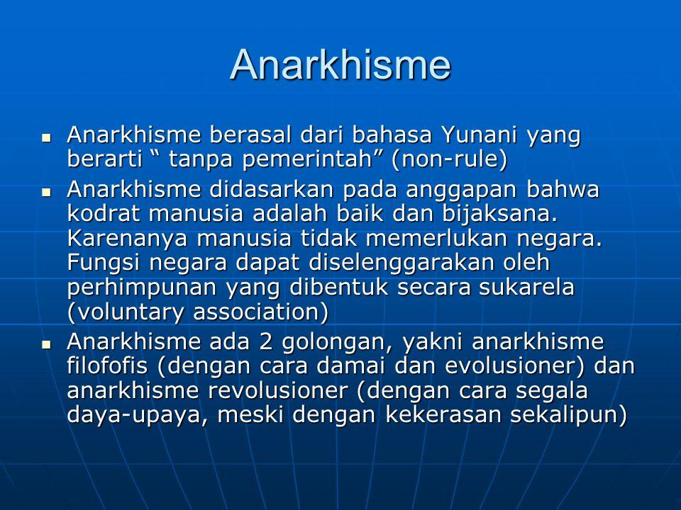 Anarkhisme Anarkhisme berasal dari bahasa Yunani yang berarti tanpa pemerintah (non-rule)