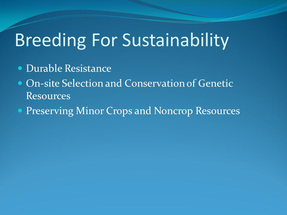 Breeding For Sustainability