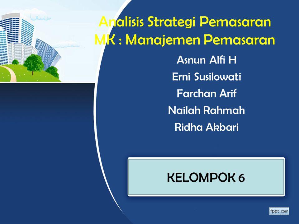 Analisis Strategi Pemasaran MK : Manajemen Pemasaran