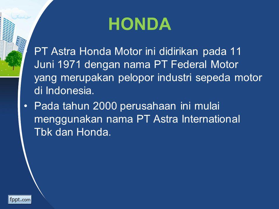 HONDA PT Astra Honda Motor ini didirikan pada 11 Juni 1971 dengan nama PT Federal Motor yang merupakan pelopor industri sepeda motor di Indonesia.
