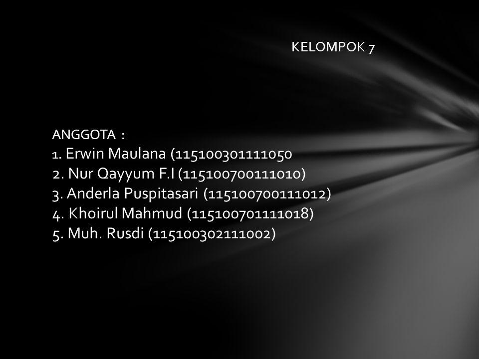 Nama Kelompok : M. Rusdi (115. KELOMPOK 7 ANGGOTA : 1