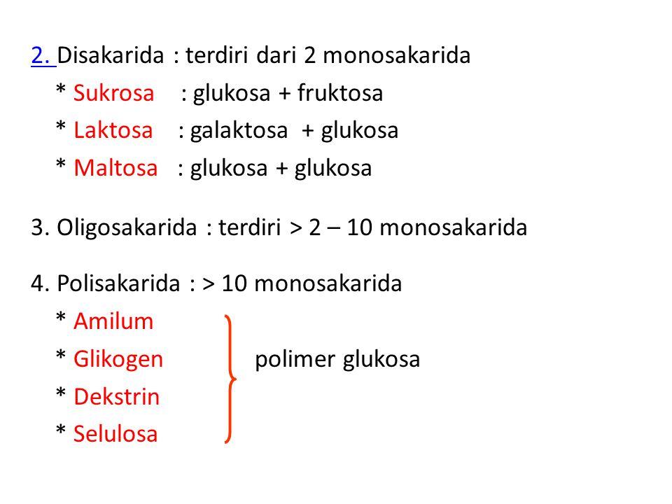 2. Disakarida : terdiri dari 2 monosakarida