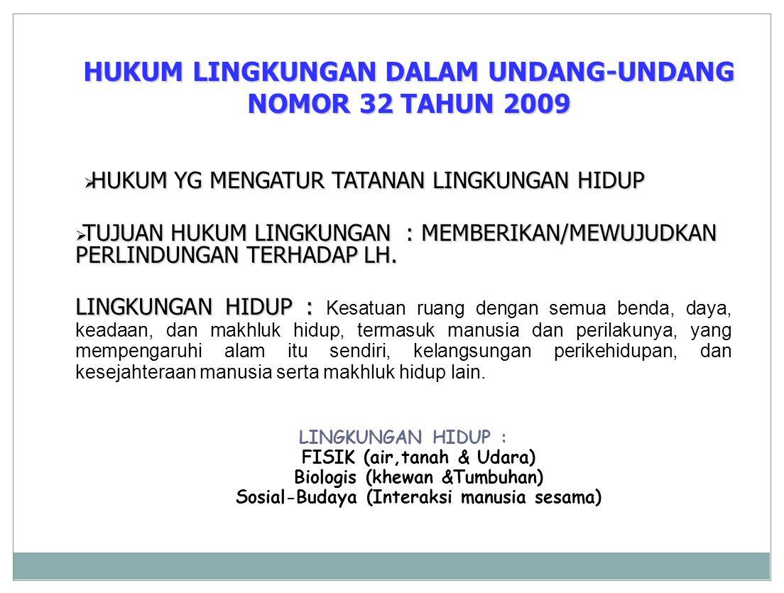 HUKUM LINGKUNGAN DALAM UNDANG-UNDANG NOMOR 32 TAHUN 2009