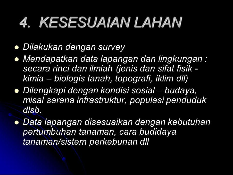 4. KESESUAIAN LAHAN Dilakukan dengan survey