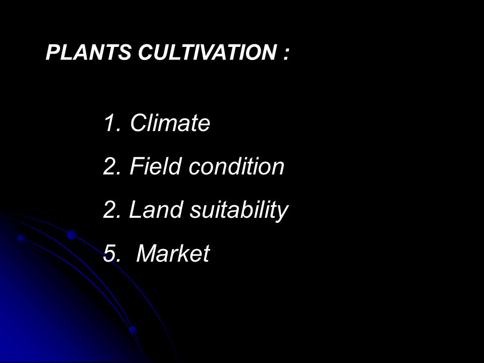 Climate Field condition Land suitability 5. Market