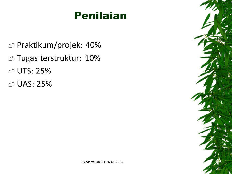 Penilaian Praktikum/projek: 40% Tugas terstruktur: 10% UTS: 25%