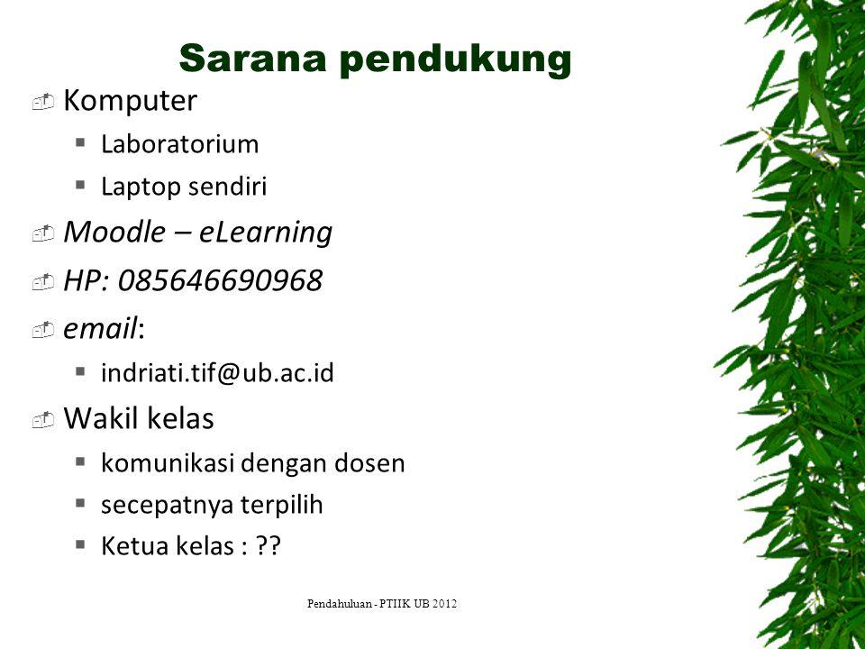 Sarana pendukung Komputer Moodle – eLearning HP: 085646690968 email: