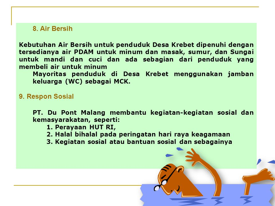 8. Air Bersih 9. Respon Sosial
