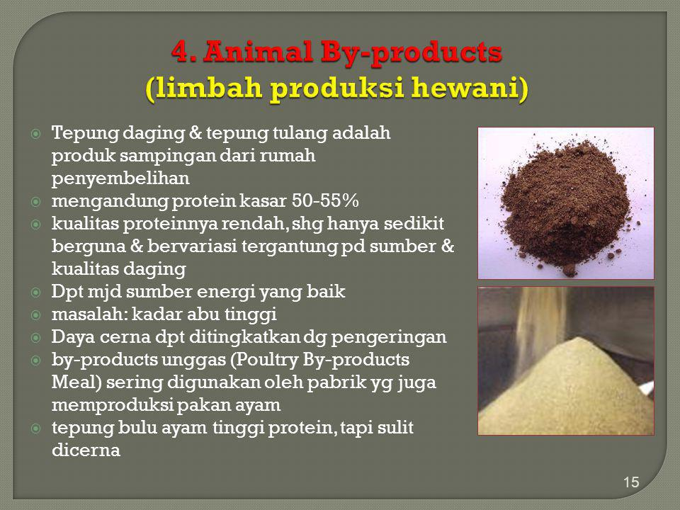 4. Animal By-products (limbah produksi hewani)