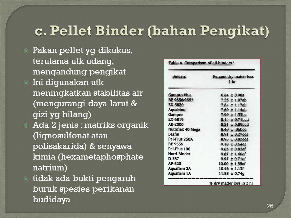 c. Pellet Binder (bahan Pengikat)