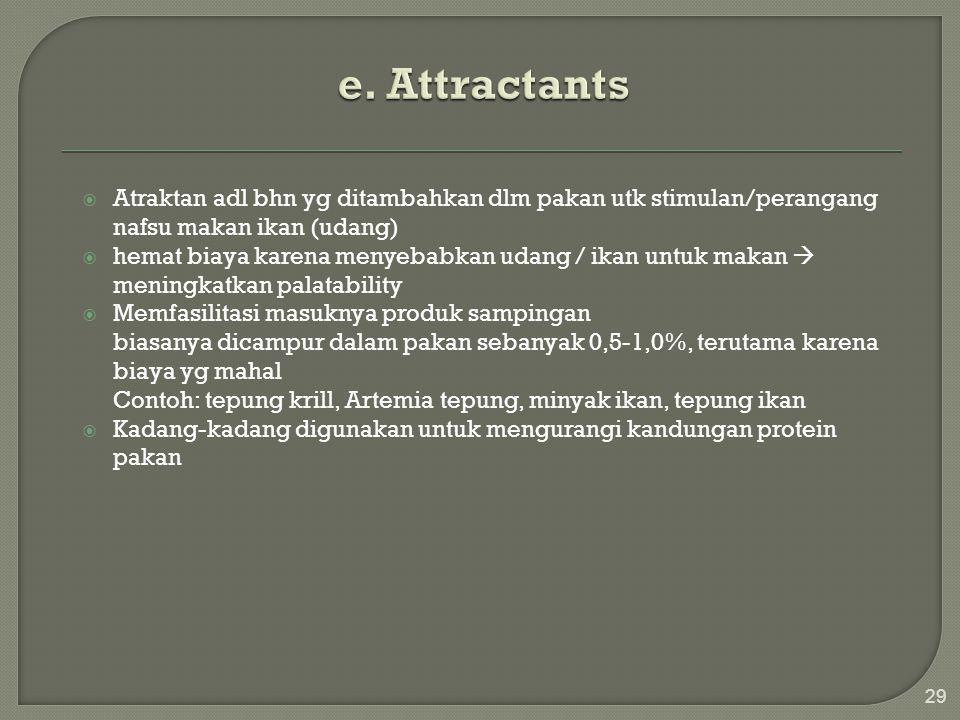 e. Attractants Atraktan adl bhn yg ditambahkan dlm pakan utk stimulan/perangang nafsu makan ikan (udang)