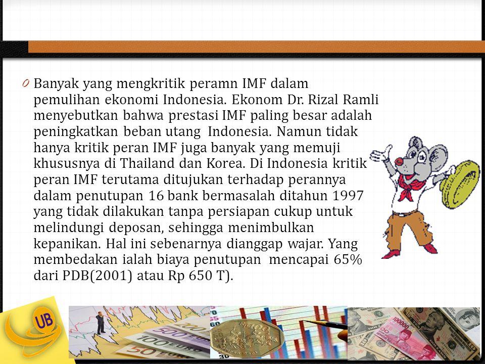 Banyak yang mengkritik peramn IMF dalam pemulihan ekonomi Indonesia