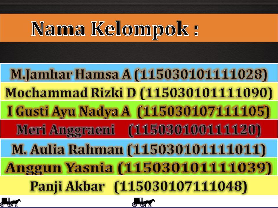 Nama Kelompok : M.Jamhar Hamsa A (115030101111028)