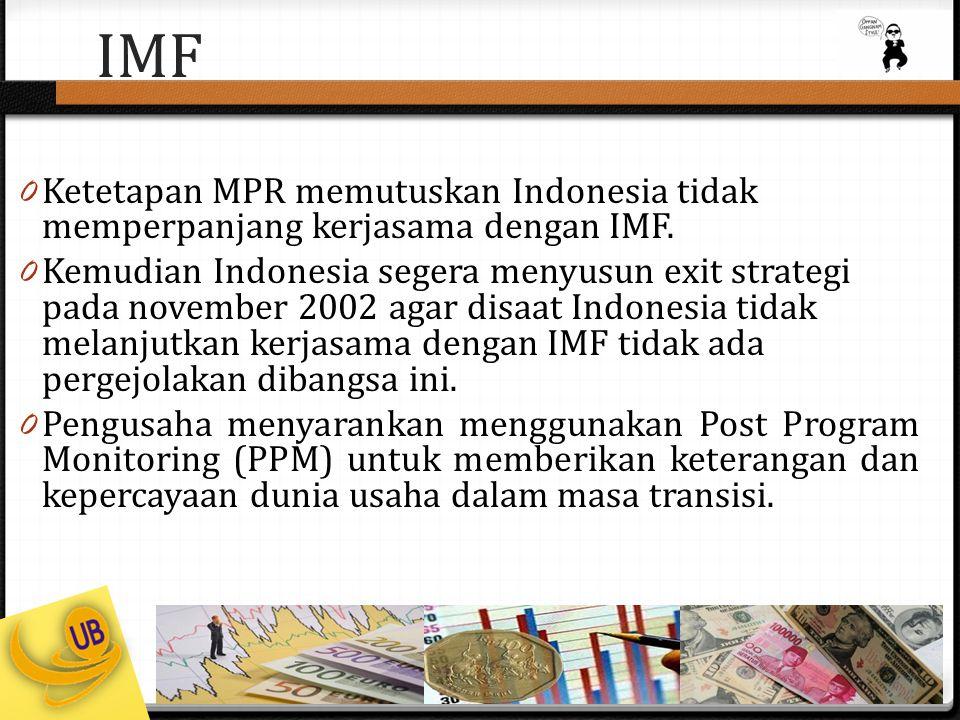 IMF Ketetapan MPR memutuskan Indonesia tidak memperpanjang kerjasama dengan IMF.