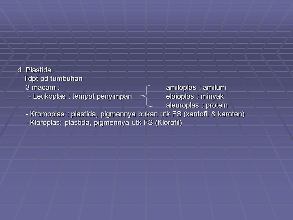 d. Plastida Tdpt pd tumbuhan. 3 macam : amiloplas : amilum. - Leukoplas : tempat penyimpan elaioplas : minyak.