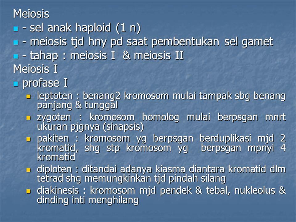 - meiosis tjd hny pd saat pembentukan sel gamet
