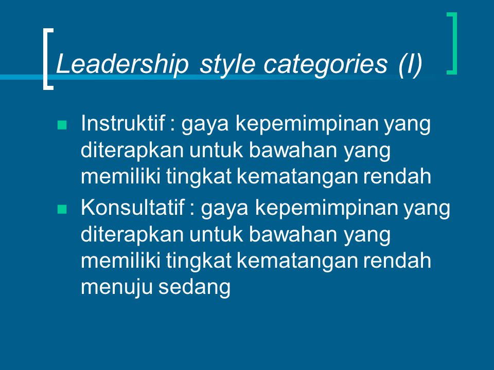 Leadership style categories (I)