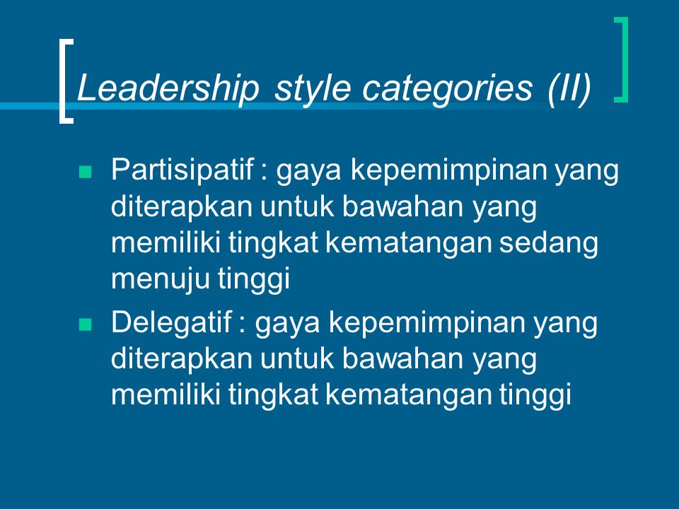 Leadership style categories (II)