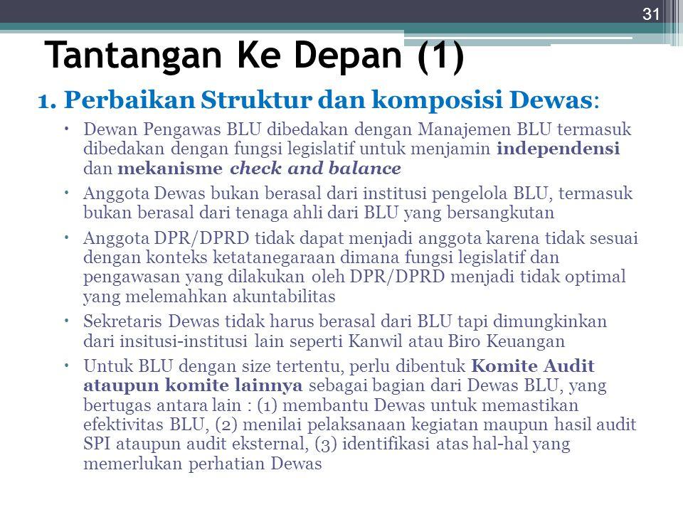 Tantangan Ke Depan (1) 1. Perbaikan Struktur dan komposisi Dewas: