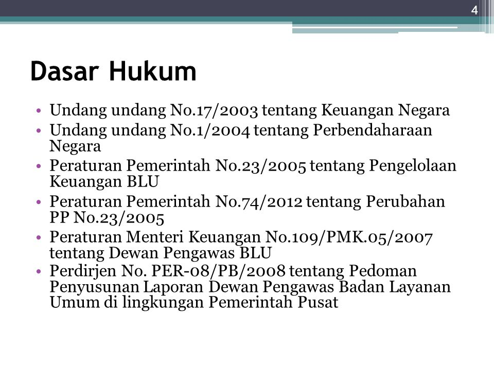 Dasar Hukum Undang undang No.17/2003 tentang Keuangan Negara