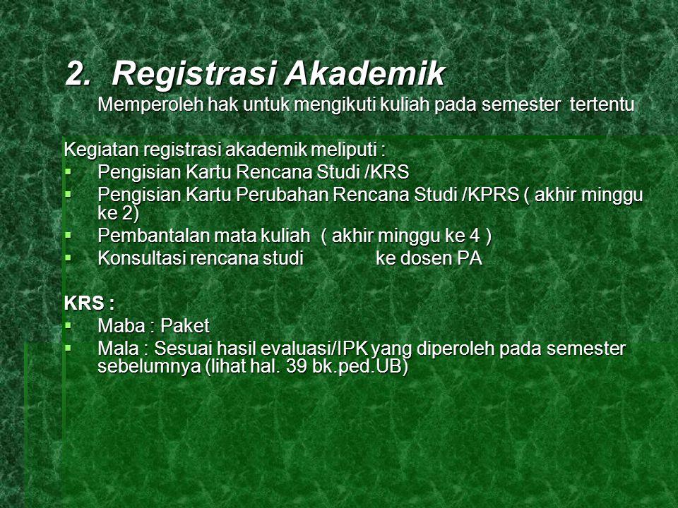 2. Registrasi Akademik Kegiatan registrasi akademik meliputi :