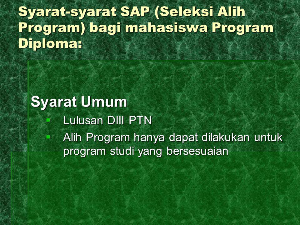 Syarat-syarat SAP (Seleksi Alih Program) bagi mahasiswa Program Diploma:
