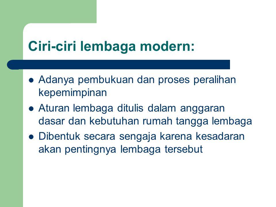 Ciri-ciri lembaga modern: