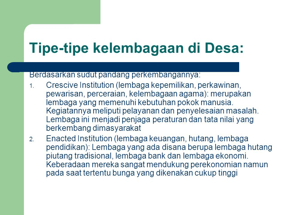 Tipe-tipe kelembagaan di Desa: