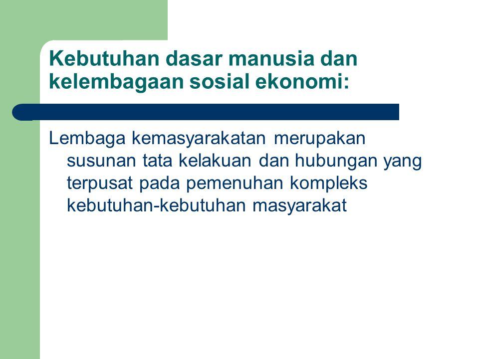 Kebutuhan dasar manusia dan kelembagaan sosial ekonomi: