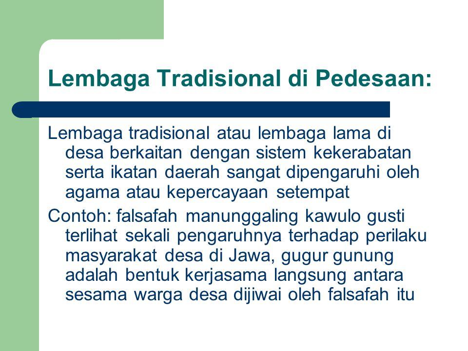 Lembaga Tradisional di Pedesaan: